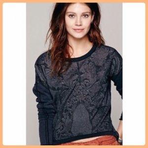 Free People  Black Lace Crop Sweatshirt